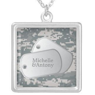 Placas de identificación del personalizable del collar plateado