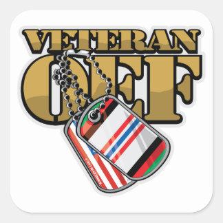 Placas de identificación del veterano OEF Pegatina Cuadrada