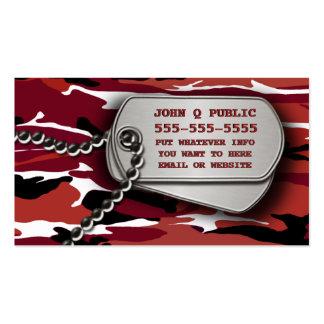 Placas de identificación rojas de Camo Plantillas De Tarjeta De Negocio