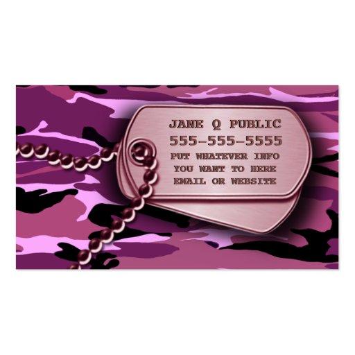 Placas de identificación rosadas de Camo Tarjetas De Visita