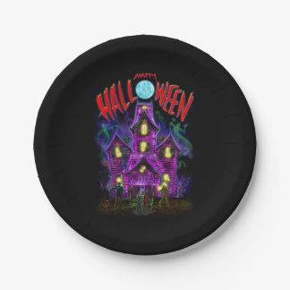 Placas de la casa encantada del feliz Halloween Plato De Papel De 7 Pulgadas