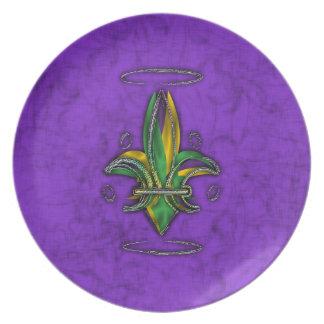 Placas de la flor de lis/del carnaval plato de comida