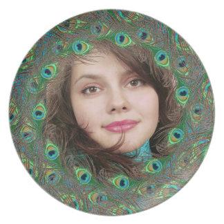 Placas de la foto del modelo de la pluma del pavo plato para fiesta