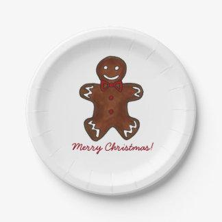 Placas de la galleta del hombre de pan de jengibre plato de papel de 7 pulgadas
