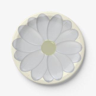 placas de la margarita blanca 3D Platos De Papel