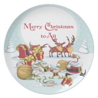 Placas de la melamina de Santa del navidad Platos Para Fiestas