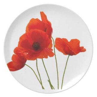 """Placas de la melamina del diseño de las """"amapolas"""" plato"""