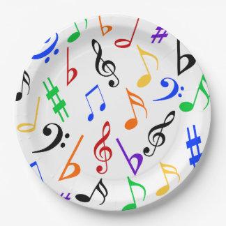 Placas de la música - coloridas: 369 plato de papel de 9 pulgadas