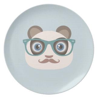 Placas de la panda del inconformista plato de cena