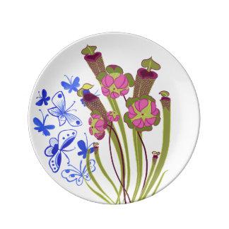 Placas de la planta carnívora - planta de jarra platos de cerámica