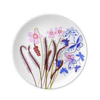 Placas de la planta carnívora - Sundew y mariposas Platos De Cerámica