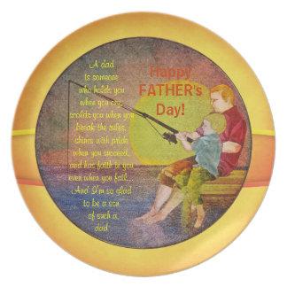 Placas de la plantilla del día de padre de la pesc plato de comida