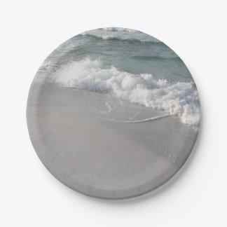 Placas de la playa platos de papel