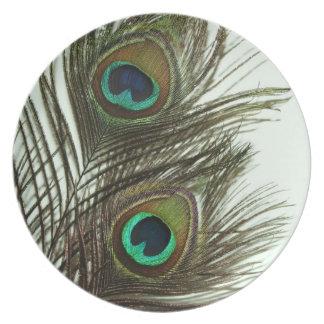 Placas de la pluma del pavo real plato de cena