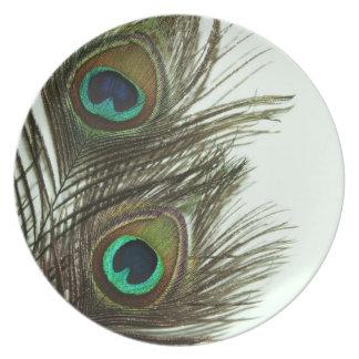 Placas de la pluma del pavo real plato para fiesta