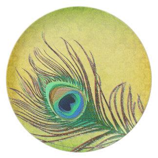Placas de la pluma del Peafowl Plato De Cena