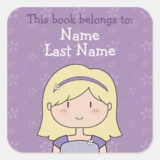 Placas de libro de encargo chica rubio etiqueta