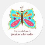 Placas de libro de la mariposa de la aguamarina etiqueta redonda