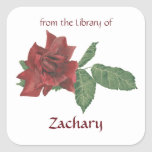 Placas de libro del rosa rojo calcomania cuadradas personalizadas