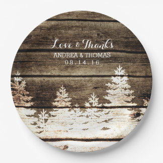 Placas de madera del boda del invierno de los platos de papel