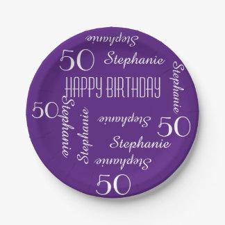 Placas de papel, 50.a fiesta de cumpleaños que plato de papel de 7 pulgadas