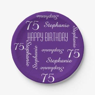 Placas de papel, 75.a fiesta de cumpleaños que plato de papel 17,78 cm