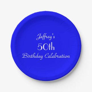 Placas de papel azules brillantes, 50.a fiesta de plato de papel de 7 pulgadas