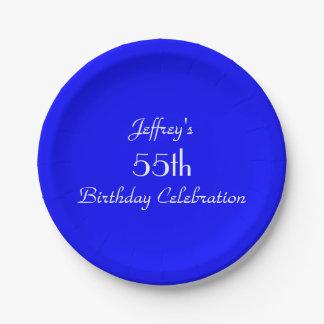 Placas de papel azules brillantes, 55.a fiesta de plato de papel de 7 pulgadas