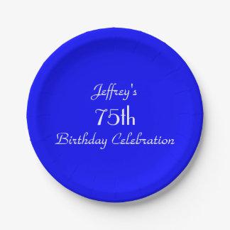 Placas de papel azules brillantes, 75.a fiesta de plato de papel de 7 pulgadas