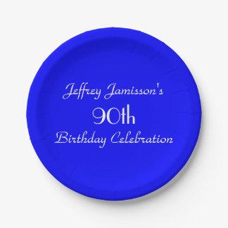 Placas de papel azules brillantes, 90.a fiesta de plato de papel de 7 pulgadas