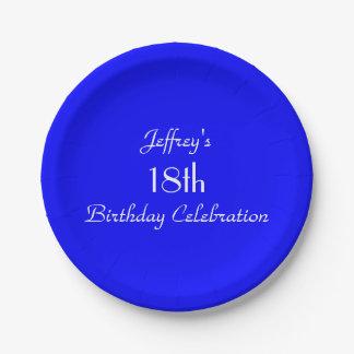 Placas de papel azules brillantes, décimo octava plato de papel 17,78 cm