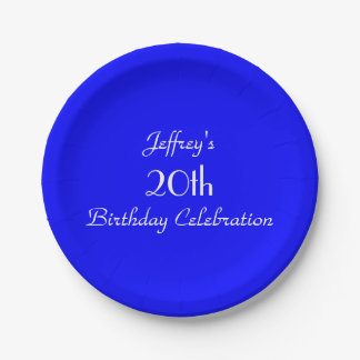 Placas de papel azules brillantes, vigésima fiesta plato de papel de 7 pulgadas