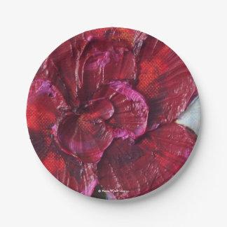 Placas de papel color de rosa de color rojo oscuro platos de papel