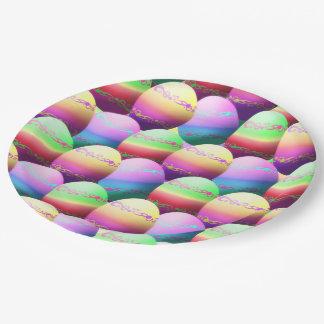 Placas de papel coloridas de los huevos de Pascua Plato De Papel De 9 Pulgadas