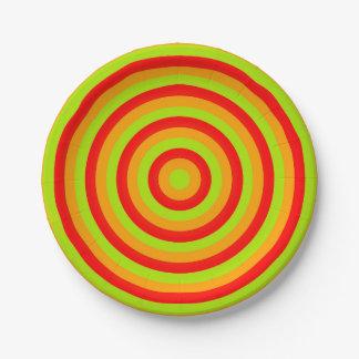 Placas de papel con diseño de los círculos plato de papel de 7 pulgadas