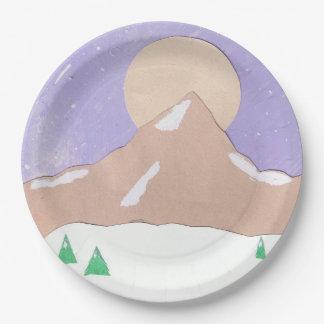 Placas de papel con escena de la montaña platos de papel
