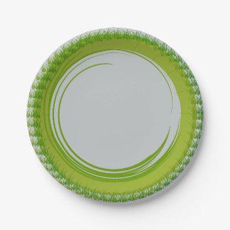 Placas de papel con la frontera verde natural platos de papel