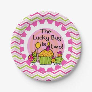 Placas de papel cumpleaños afortunado del insecto plato de papel de 7 pulgadas