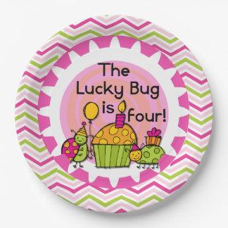 Placas de papel cumpleaños afortunado del insecto plato de papel de 9 pulgadas