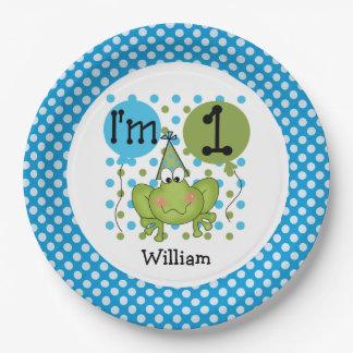 Placas de papel cumpleaños azul de la rana del 1r plato de papel 22,86 cm