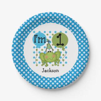 Placas de papel cumpleaños azul de la rana del 1r plato de papel 17,78 cm