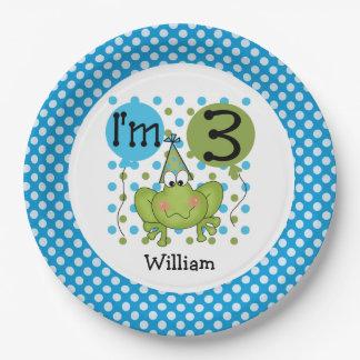 Placas de papel cumpleaños azul de la rana del 3ro plato de papel de 9 pulgadas