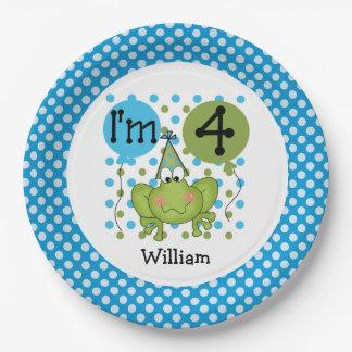 Placas de papel cumpleaños azul de la rana del 4to plato de papel 22,86 cm