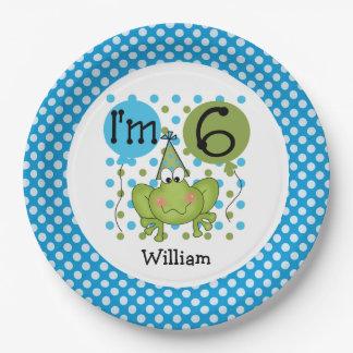 Placas de papel cumpleaños azul de la rana del 6to plato de papel 22,86 cm