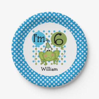 Placas de papel cumpleaños azul de la rana del 6to plato de papel 17,78 cm