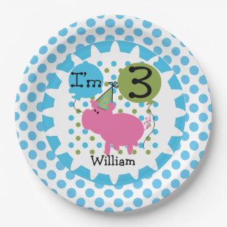 Placas de papel cumpleaños azul del cerdo de los plato de papel de 9 pulgadas