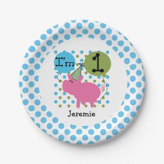Placas de papel cumpleaños azul del cerdo de los platos de papel