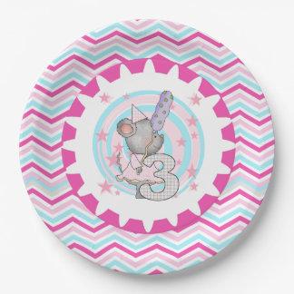 Placas de papel cumpleaños lindo del ratón del 3ro plato de papel de 9 pulgadas