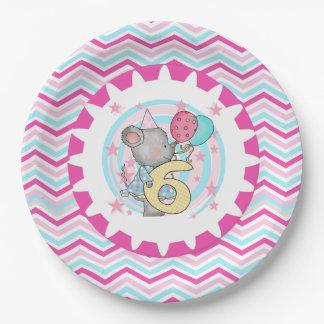 Placas de papel cumpleaños lindo del ratón del 6to platos de papel