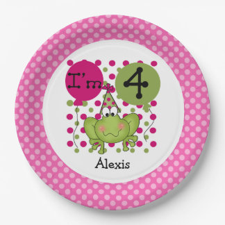 Placas de papel cumpleaños rosado de la rana del plato de papel 22,86 cm